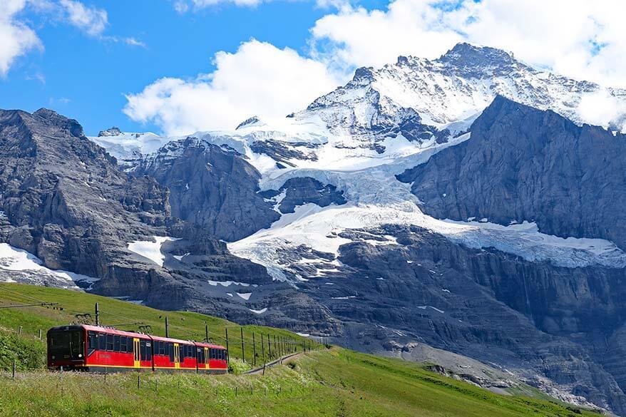 Jungfraujoch railway and Jungfrau mountain in Switzerland
