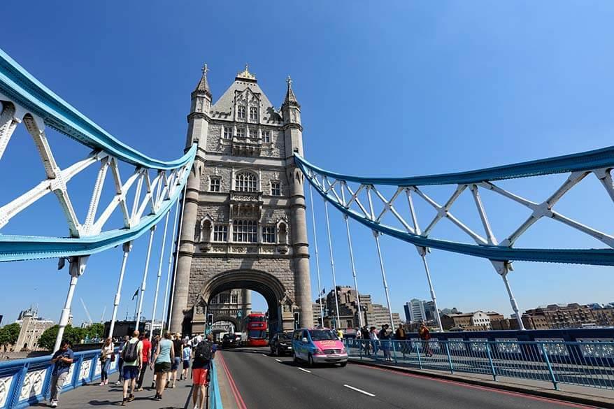 London Tower Bridge as seen from the bridge itself