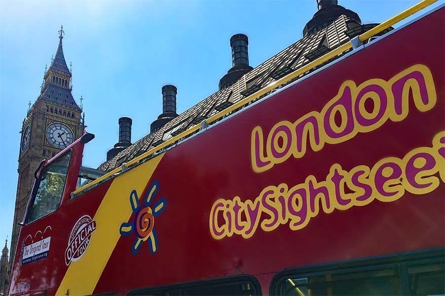 London sightseeing bus at Big Ben
