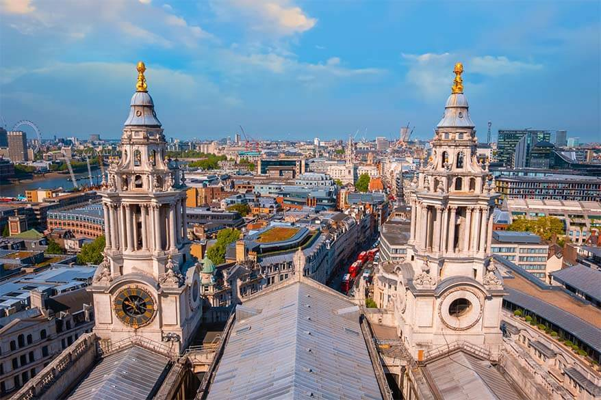 London skyline as seen from St Paul's Cathedral