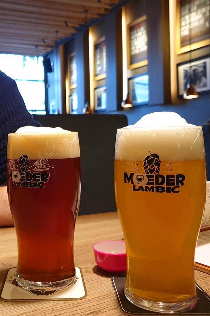 Moeder Lambic beer at Moeder Lambic cafe in Brussels Belgium
