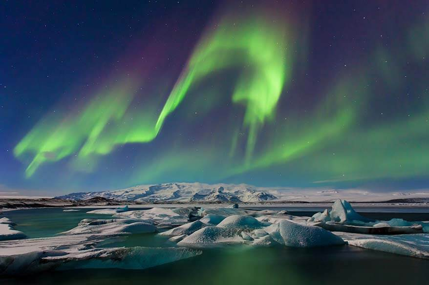 Northern Lights at Jokulsarlon Glacier Lagoon in Iceland