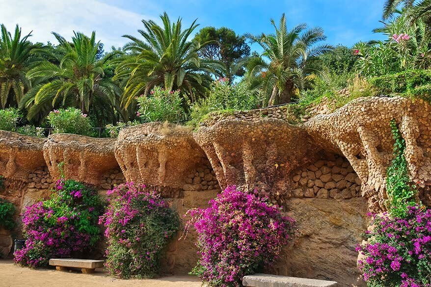 Park Guell in Barcelona in late spring