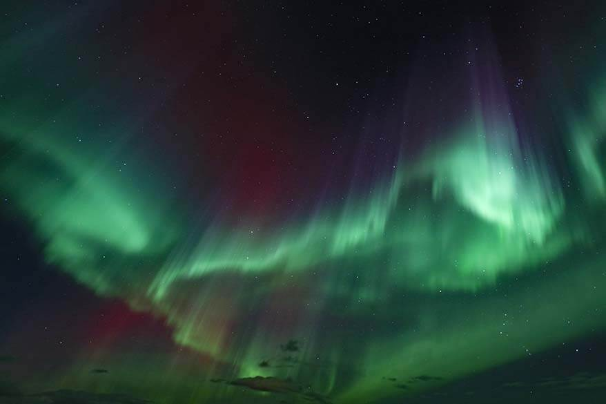 Red and green auroras in Iceland in November
