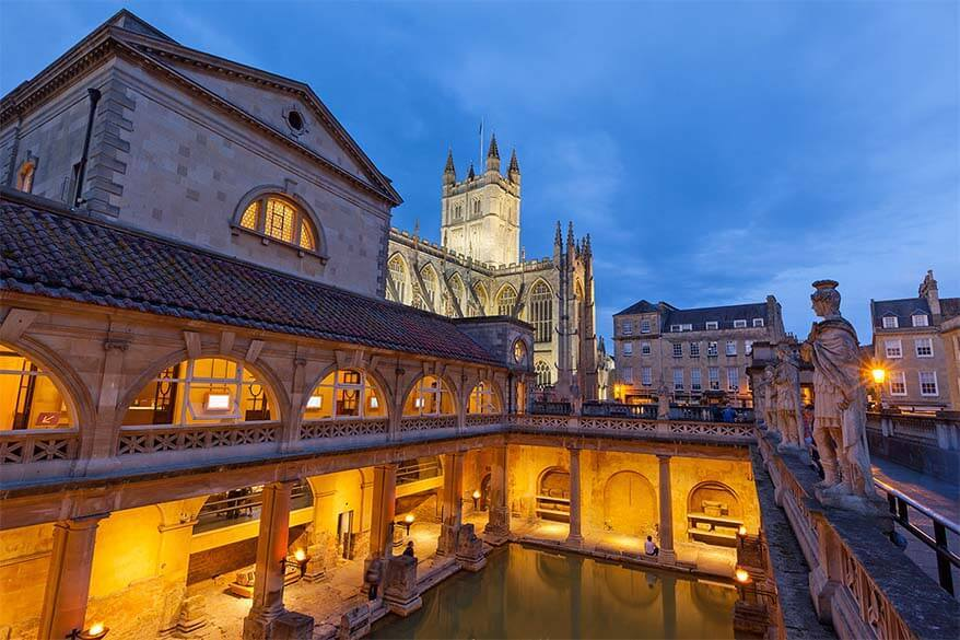 Roman Baths in Bath city in the UK