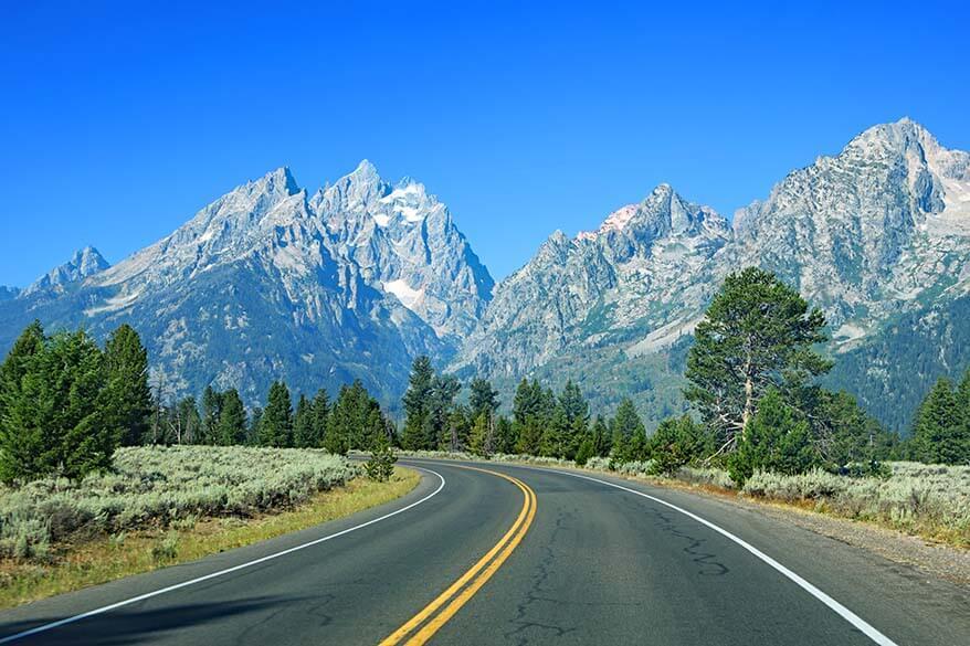 Scenic road in Grand Teton National Park