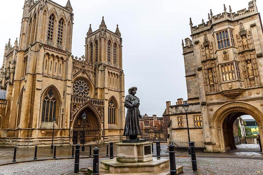 Statue of Ram Mohan Roy and Bristol Cathedral in the UK