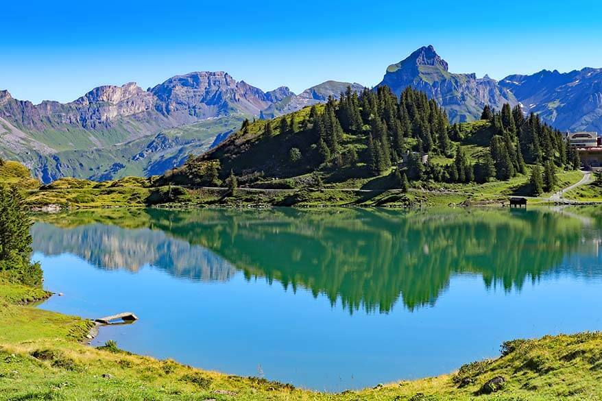 Titlis area scenery at Trubsee lake in summer