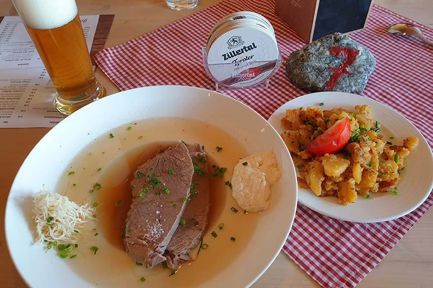 Altwiener siedefleisch - traditional Tyrol dish at a restaurant in Austria