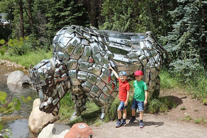 Chrome On The Range sculpture in John Denver Sanctuary in Aspen