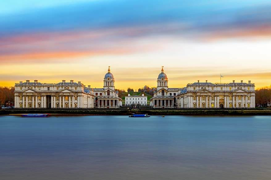 Greenwich skyline as seen from Island Gardens on the Isle of Dogs in London