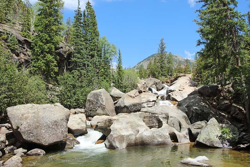 Grottos Trail cascades near Aspen Colorado