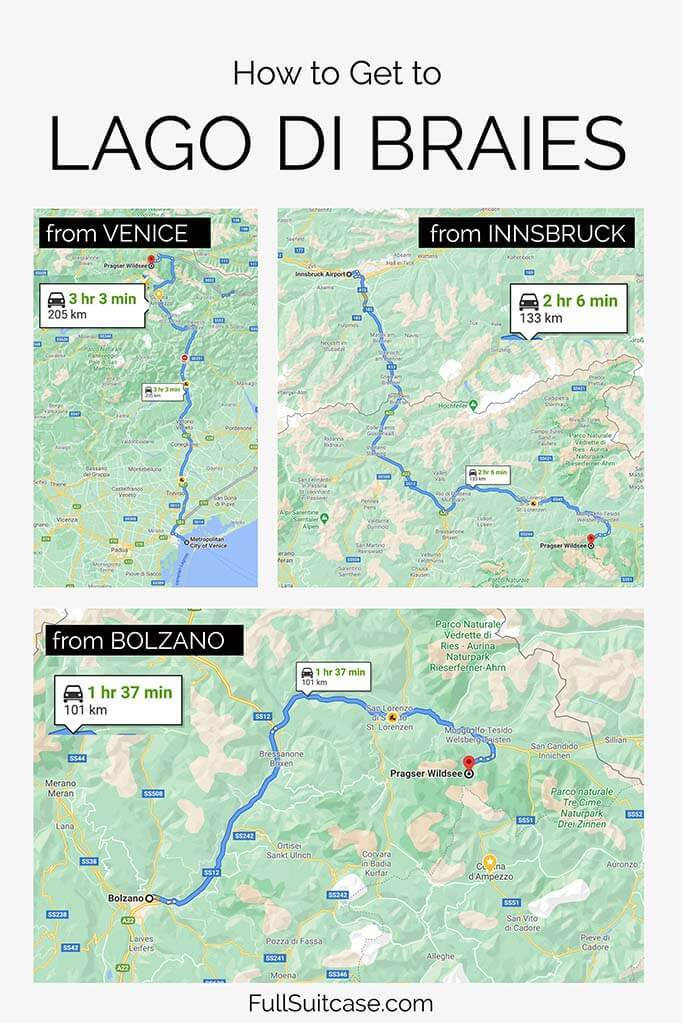 How to get to Lake Braies in the Italian Dolomites - from Venice, from Bolzano, or from Innsbruck