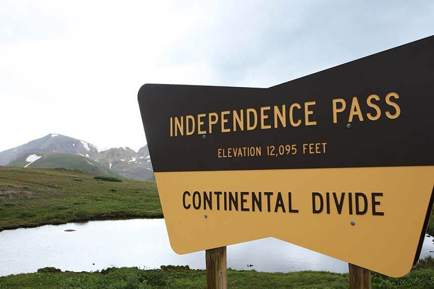Independence Pass sign - Continental Divide in Colorado