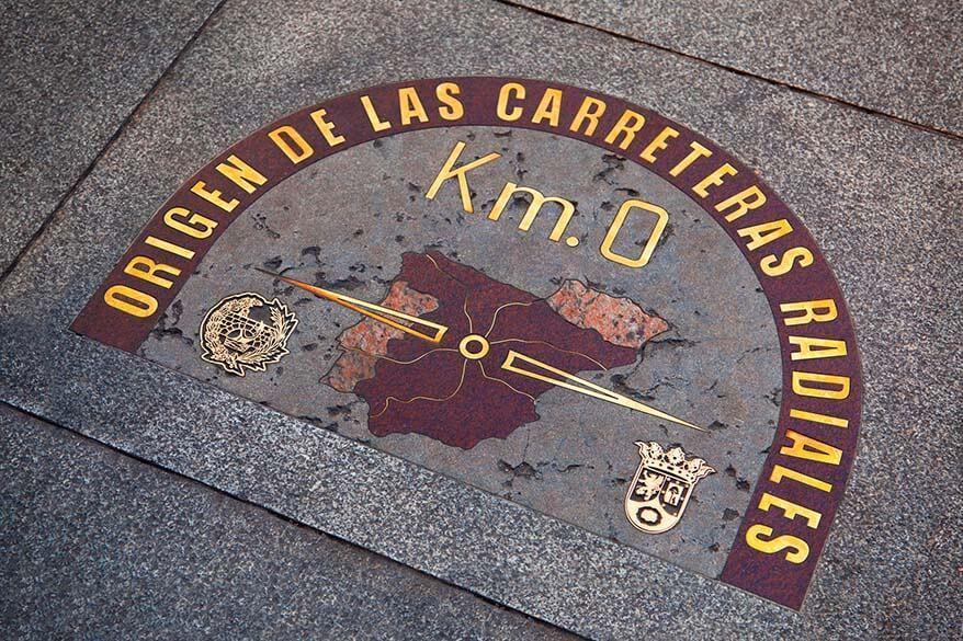 Kilometre Zero in Puerta del Sol in Madrid Spain