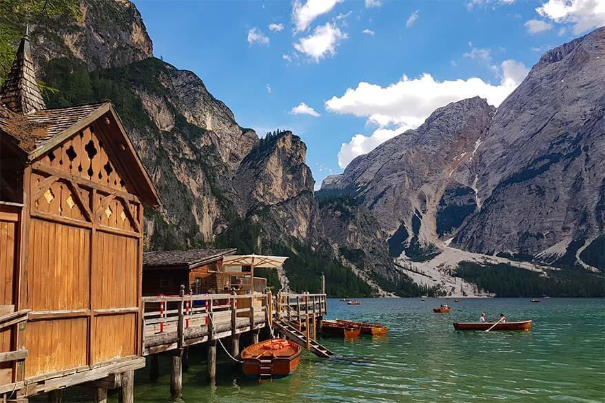 Lago di Braies boathouse