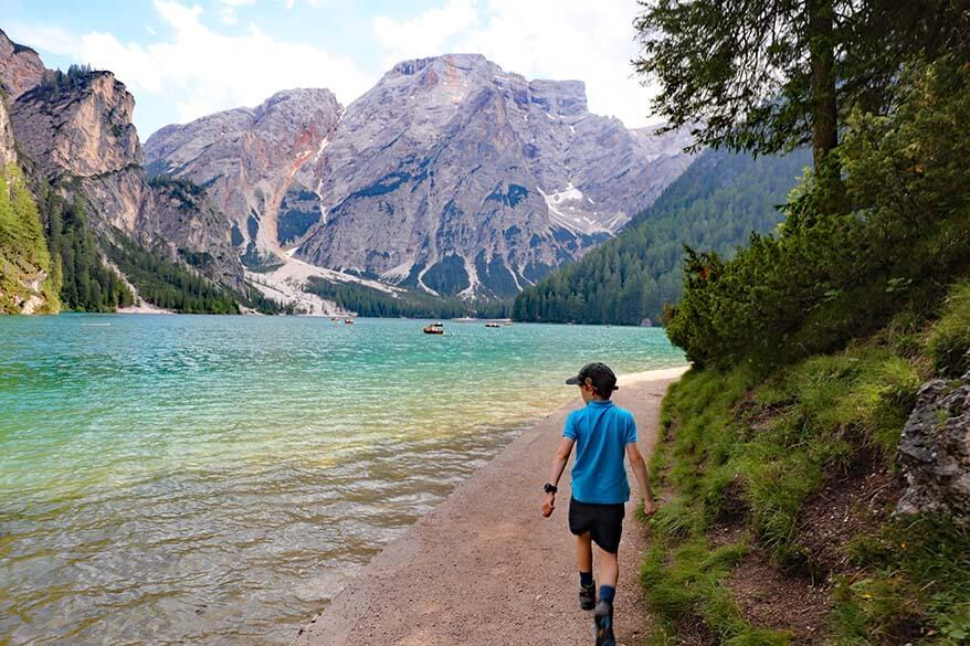 Lago di Braies hiking trail - some parts are flat and accessible