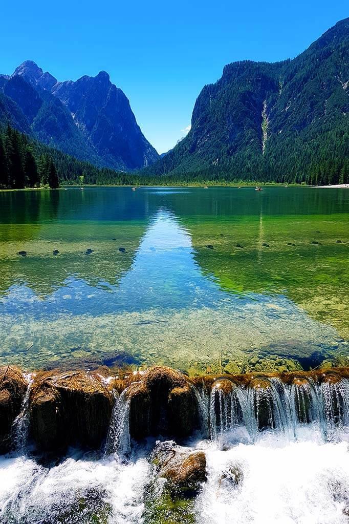 Lake Dobbiaco (Toblacher See) in Italy