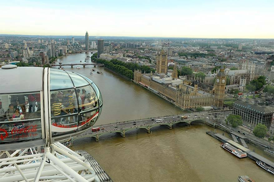 London Eye view from top
