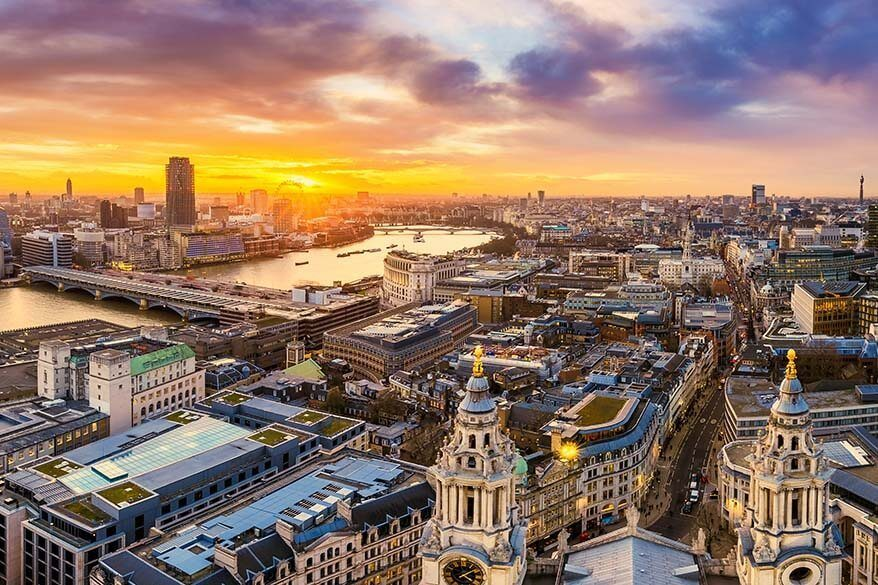 London skyline at sunset as seen from St Paul's Cathedral