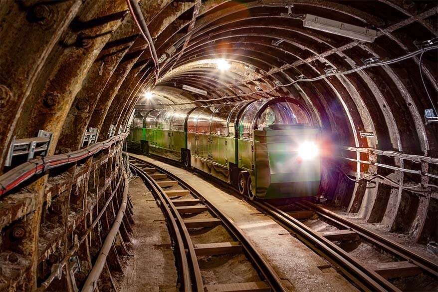Mail Rail Train in a tunnel at the Postal Museum in London