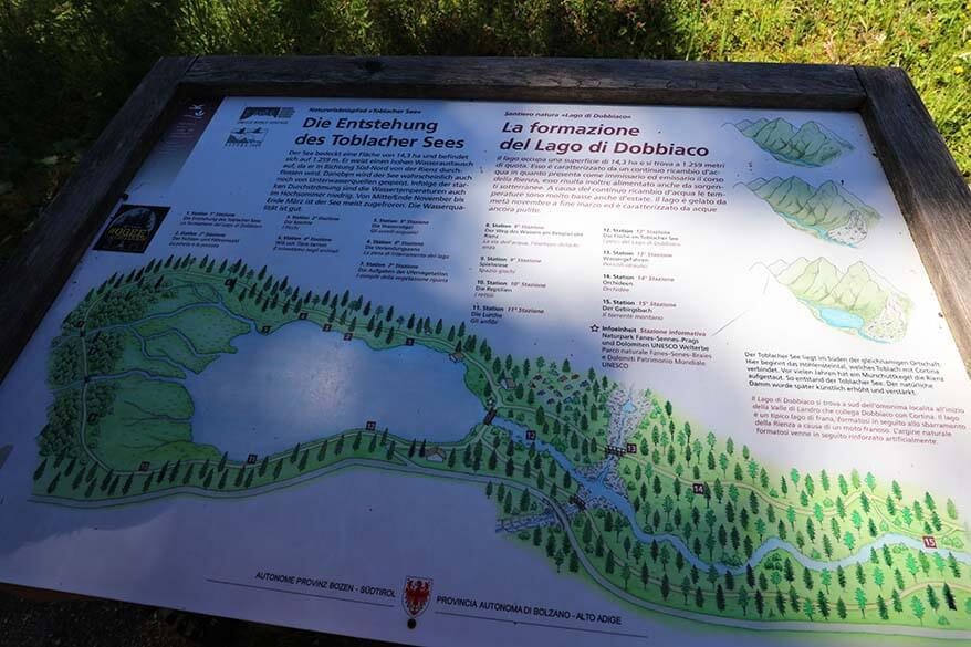 Map of Nature Trail at Toblacher See
