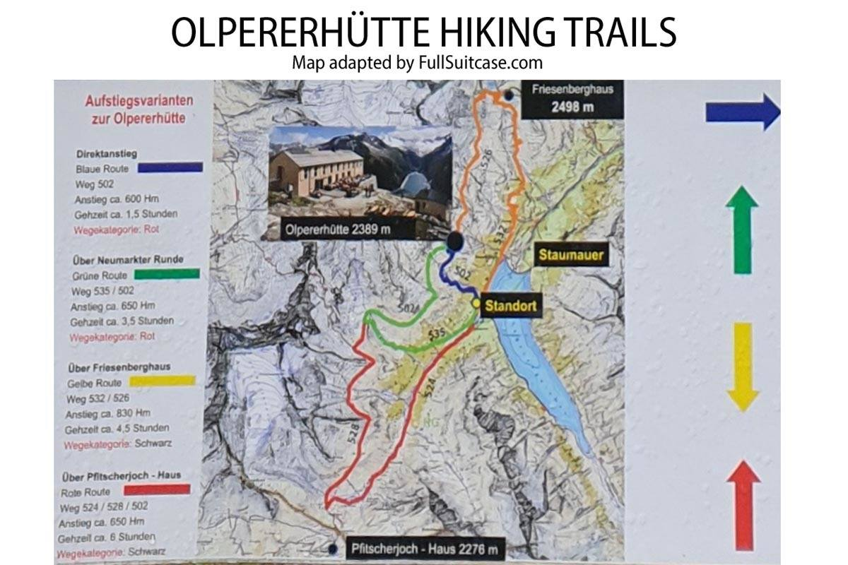 Map of all hiking trails leading to Olpererhutte from Schlegeis Reservoir