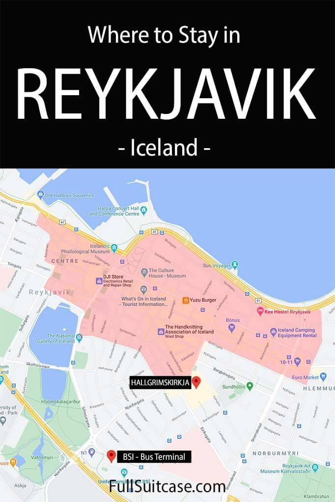 Map of the best area to stay in Reykjavik