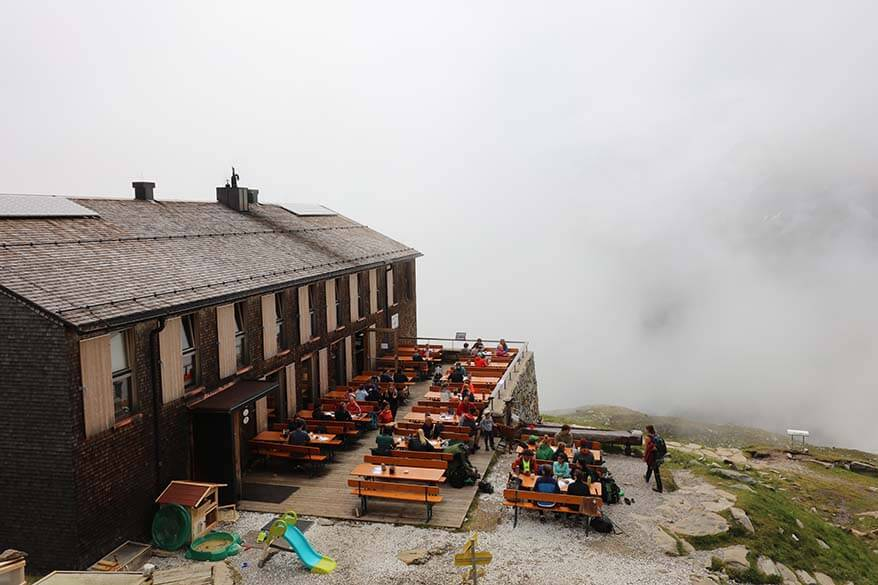 Olpererhütte in the mist.