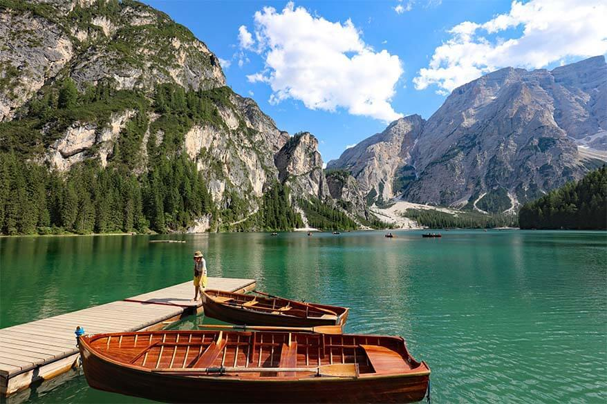 Rowing boats at Lago di Braies in the Italian Dolomites