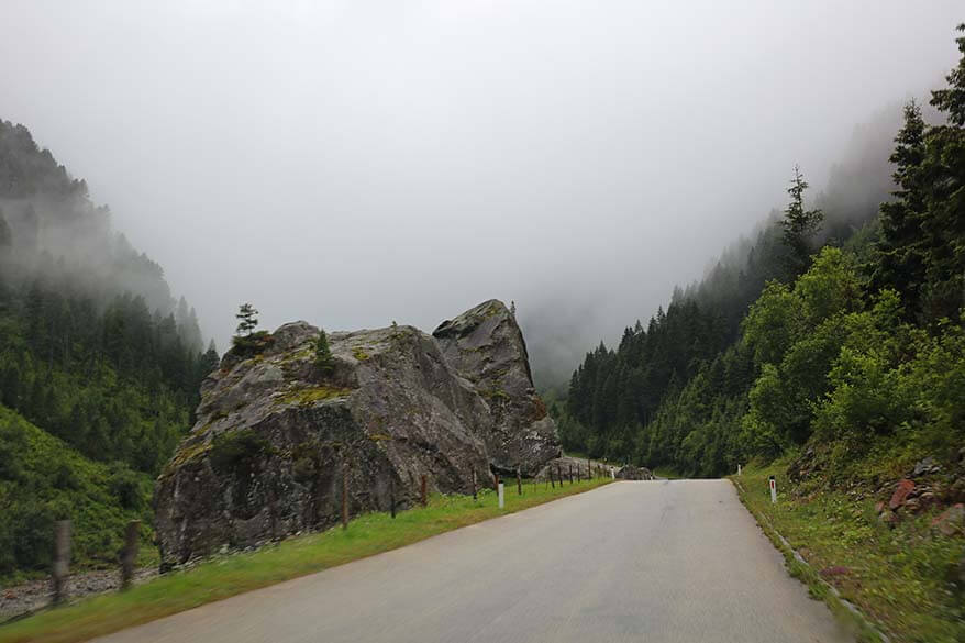 Schlegeis Alpine Road in Zillertal valley in Austria.