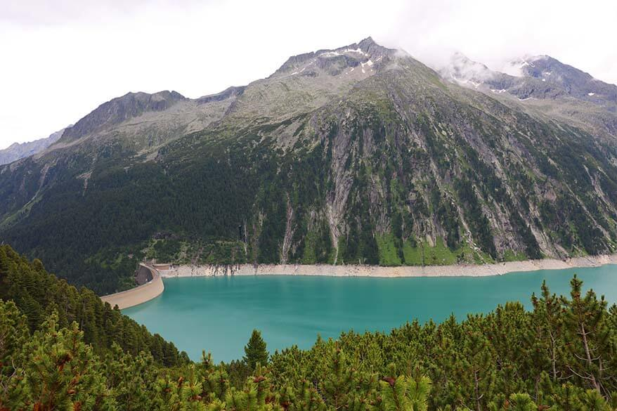 Schlegeis Stausee - artificial mountain lake in Zillertal valley in Austria