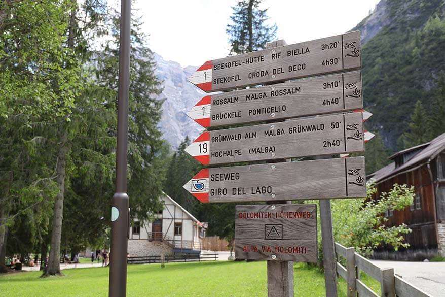 Sign of hiking trails that start at Lake Braies