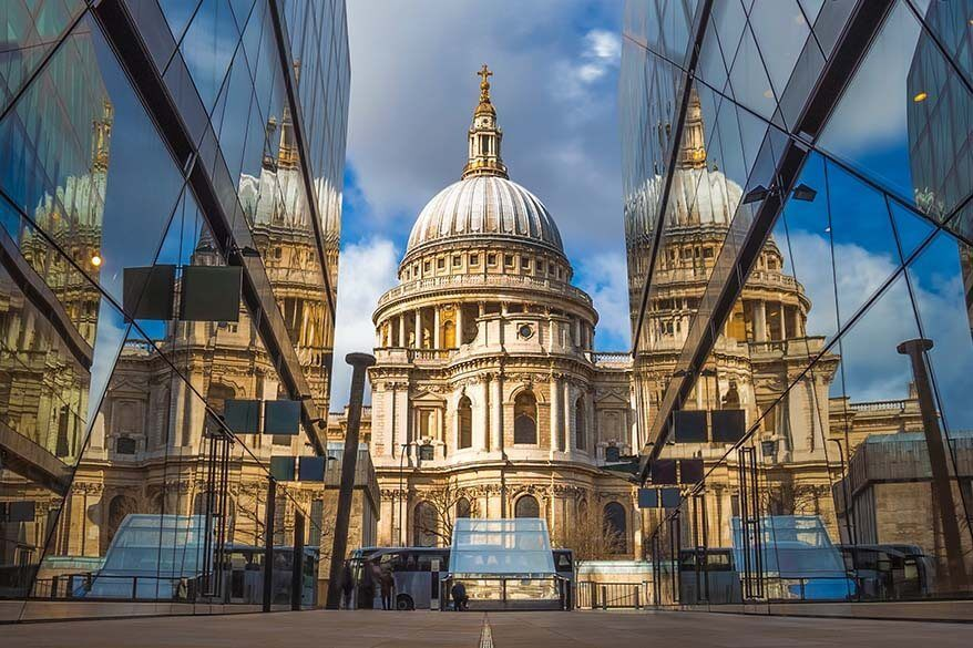 St Paul's Cathedral as seen from One New Change shopping center in London