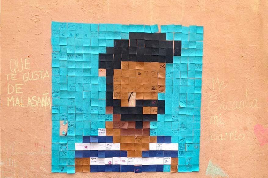 Street art in Malasana neighborhood in Madrid Spain