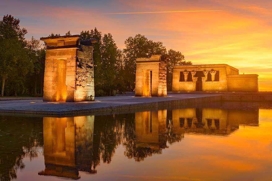Sunset at Temple of Debod in Madrid