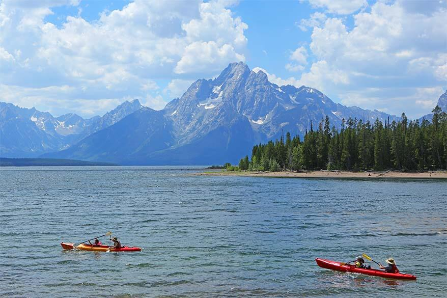 Things to do in Jackson Hole in summer - kayaking on a lake