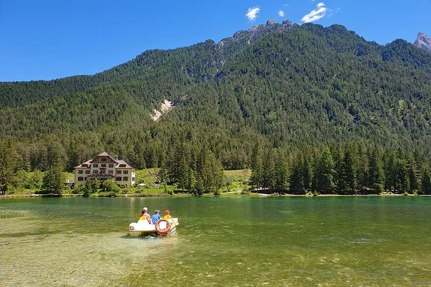 Toblacher See paddle boat and Hotel Baur Al Lago