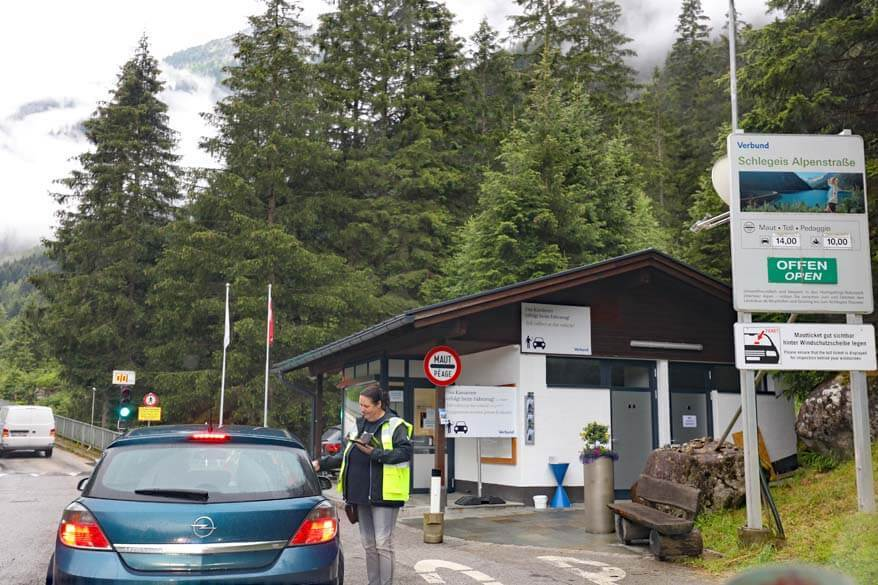 Toll booth at Schlegeis Alpine Road.