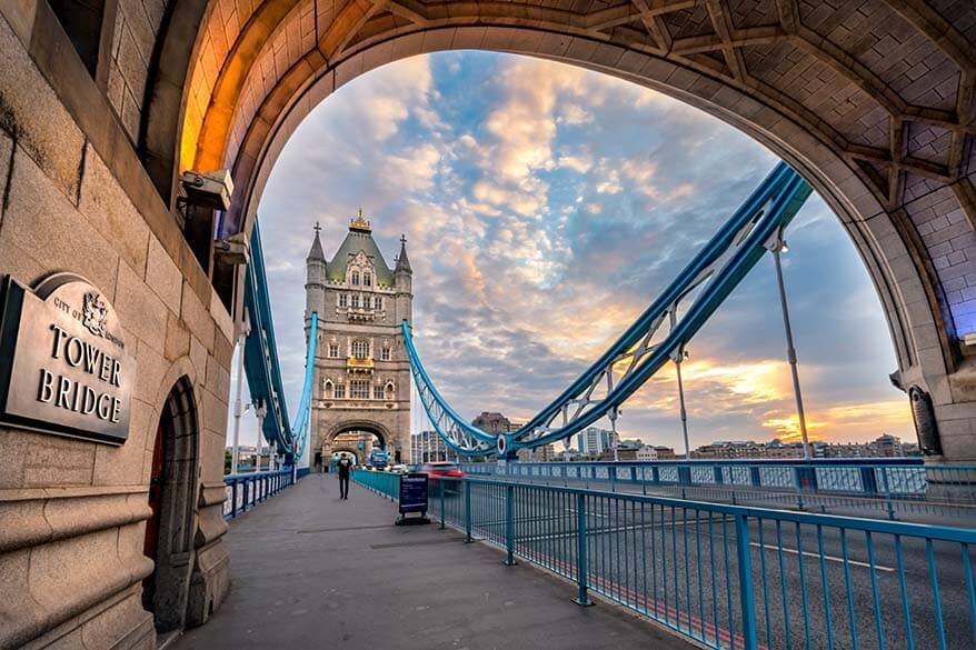 Unique angle view on Tower Bridge in London