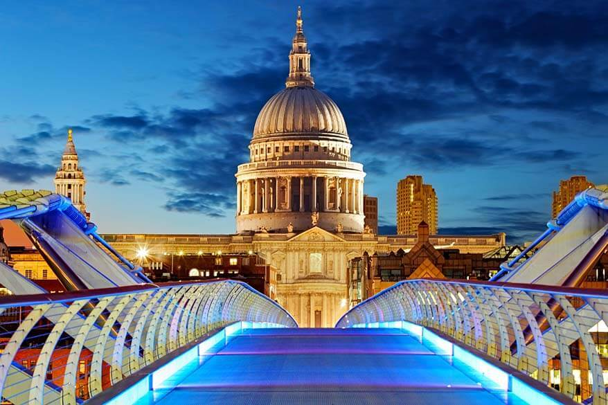 View of St Paul's Cathedral from Millennium Bridge in London