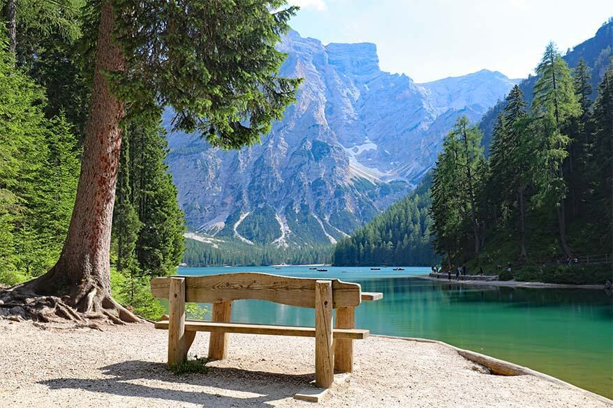 Wooden bench with a view of Lake Braies