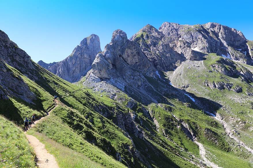 Beautiful mountain scenery along the hiking trail 436 near Passo Giau in Italy
