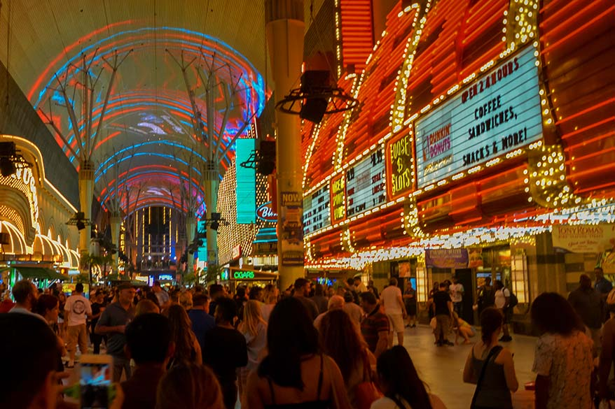 Big crowds at Fremont Street Experience in Las Vegas