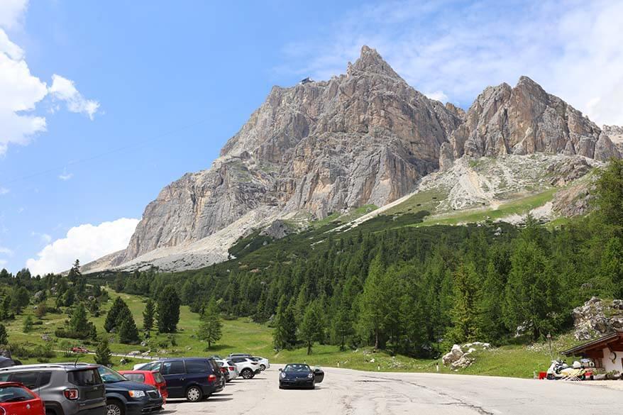 Car parking at Col Gallina near Falzarego Pass in the Italian Dolomites