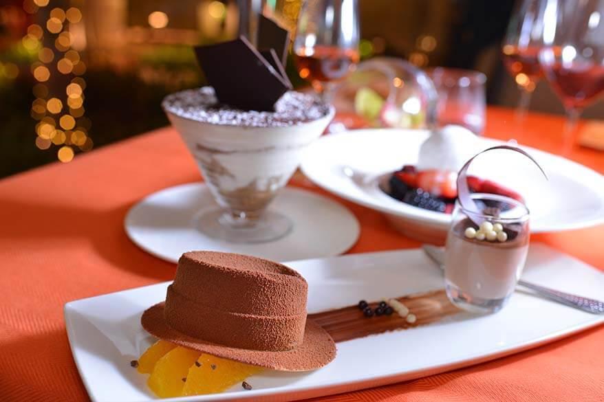 Desserts at gourmet restaurant in Las Vegas