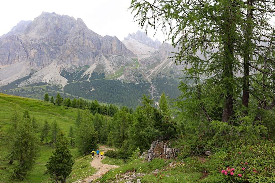 Dolomites scenery with Lagazuoi mountain as seen from Lake Limides hike