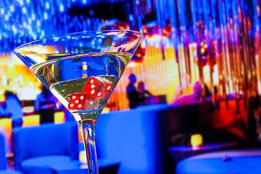 Drinks at a bar in Las Vegas