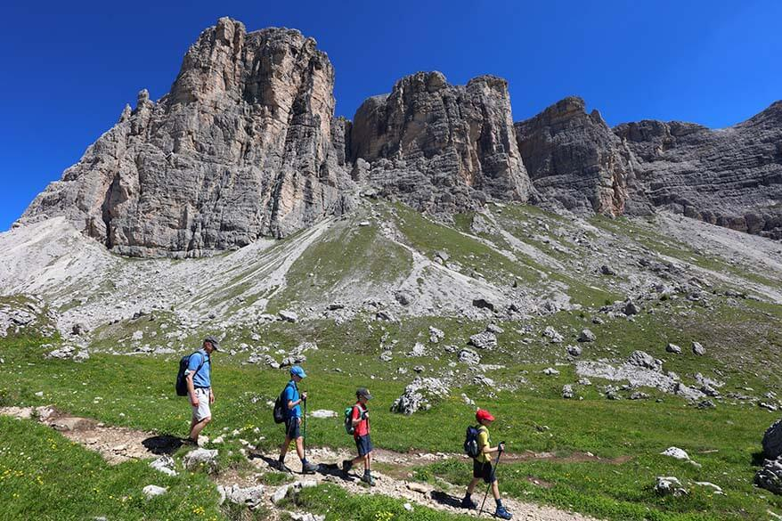 Family hiking near Forcella Giau in the Italian Dolomites