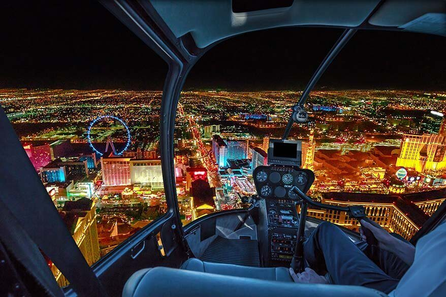 Helicopter flight over Las Vegas Strip at night